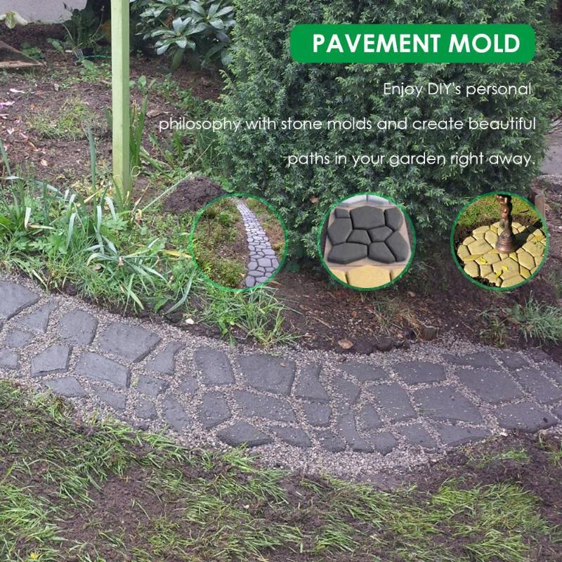 Garden Pavement Mold Path Maker Garden Walk Pavement Concrete Mould DIY Manually Paving Cement Brick Stone Road Concrete Molds