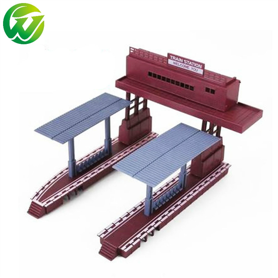 HO scale plastic model train station Railroad Layout General train accessories scene game model essential materials