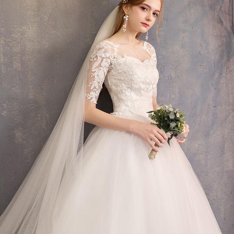 New Charming lace Wedding Dresses fashion Big yards Princess Wedding Gown Bridal Slim fit applique Wedding Dress
