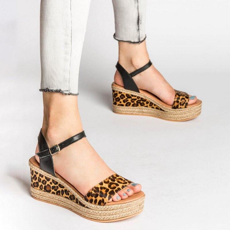 Platform Women Sandals 2020 Summer Ladies Leopard Wedges Open Toe Shoes Woman Sandals Buckle Casual Shoes Sandalia Feminina