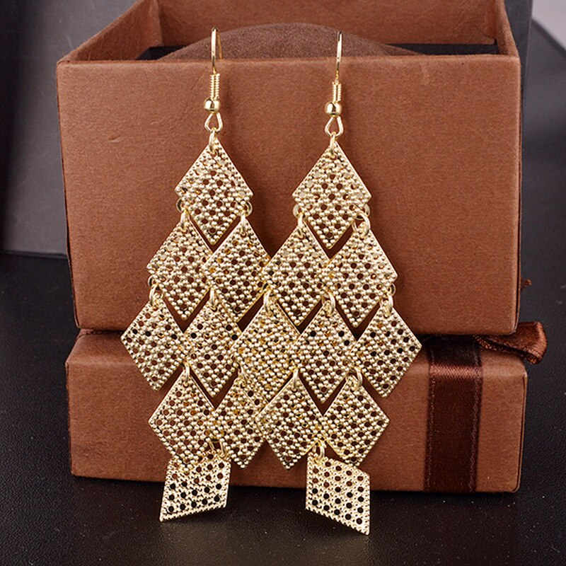Fashion New Exquisite Hollow Rhombus Metal String Earrings Long Paragraph Earrings Bridal Earrings Jewelry