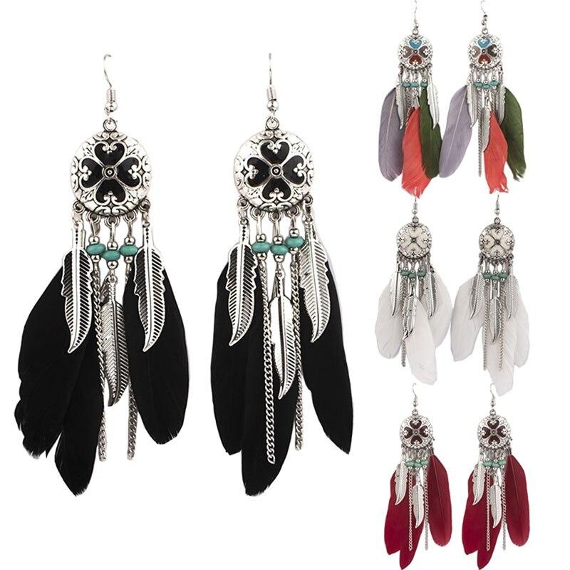 Fashion Women's Ethnic Wind Dripping Dangle Earrings White Red Black Color Feather Tassel Earrings