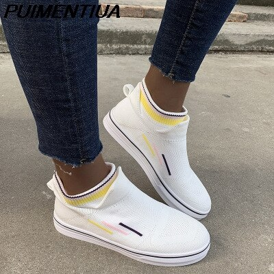 PUIMENTIUA Women Flats Woman Vulcanized Sneakers Women's Bright Color Mesh Ladies Casual Female Comfortable Breathable Shoes