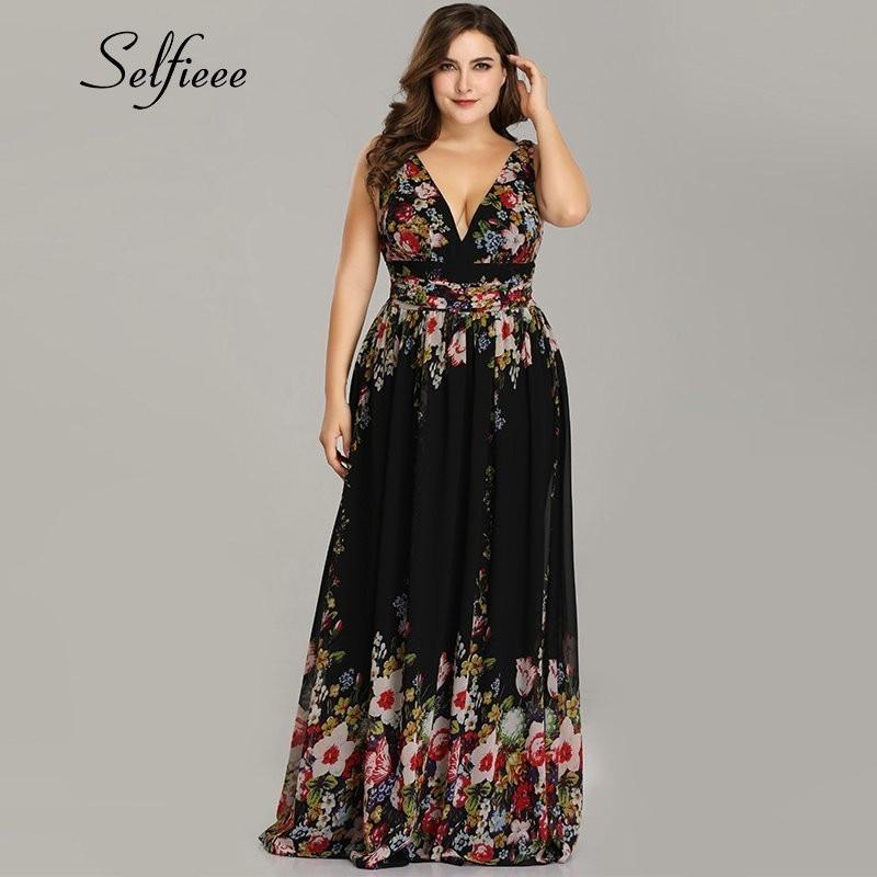 Plus Size Party Dress 2020 New Elegant A Line V Neck Sleeveless Floral Print Beach Summer Dress Women Robe Femme Vestidos