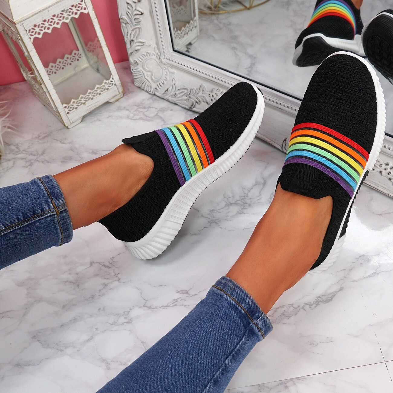 Puimentiua 2020 Women Sneakers Rainbow Knitted Mesh Vulcanize Shoes Leisure Shoes Low-top Summer Casual Ladies Shoes
