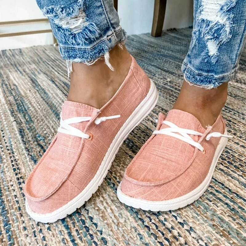 Puimentiua Women Casual Shoes Lace Up Canvas Loafers Summer Soft Breathable Shoes Student Girl Lightweight Ladies Sneakers Plus