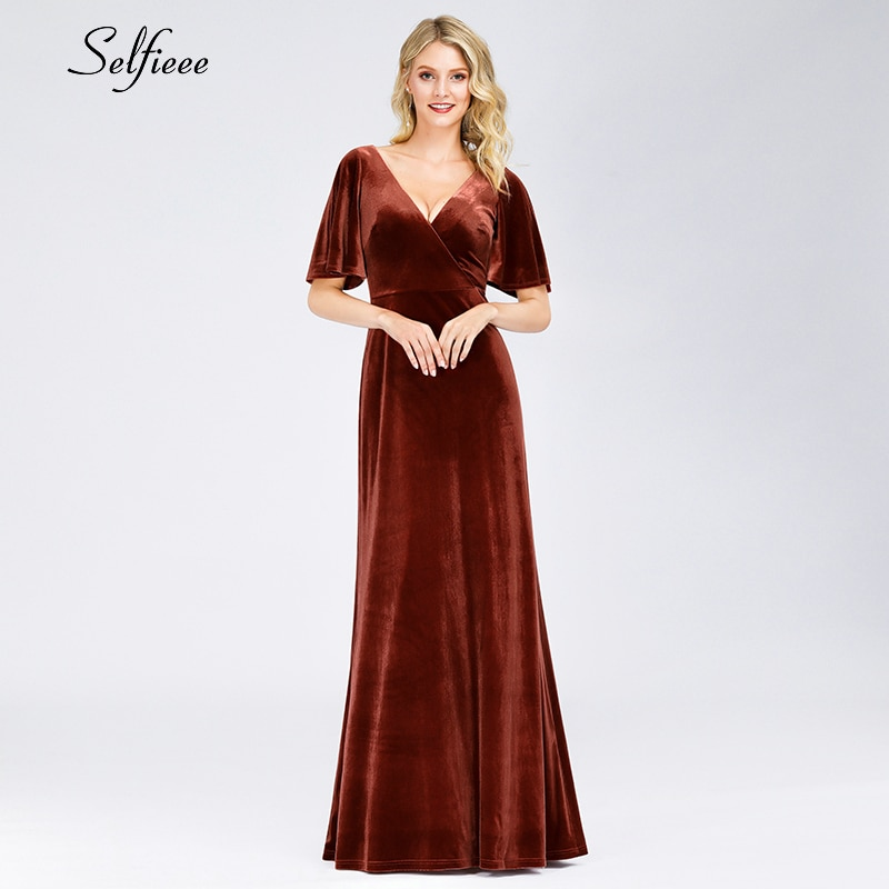 Sexy Velvet Maxi Dress A-Line Double V-Neck Short Sleeve Autumn Winter Women Dress Elegant Burgundy Ladies Party Gown Ropa Mujer