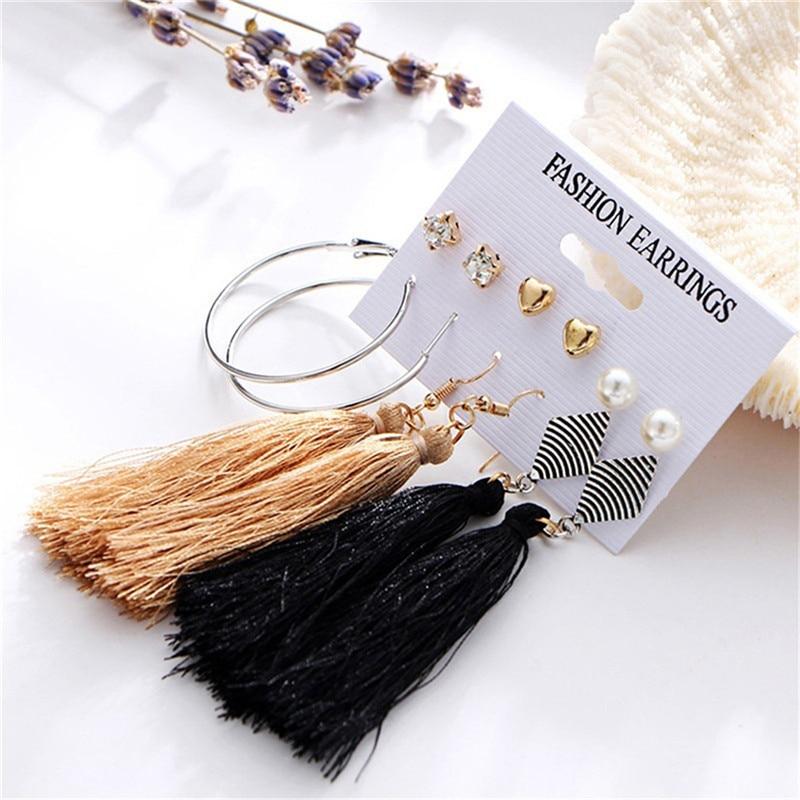 Women's Earrings Set Pearl Earrings For Women Bohemian Fashion Jewelry 2020 Crystal Tassle Earrings