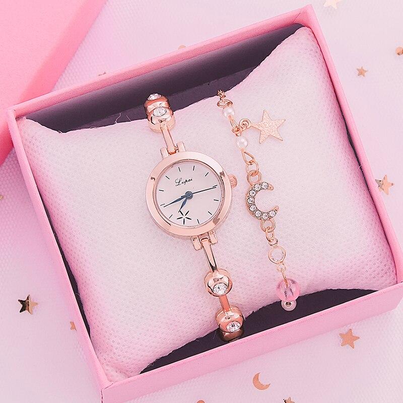 2pcs Set Fashion Watch For Women Bracelet Dress Ladies Wrist Watch Luxury Rose Gold Quartz Watch Set Clock zegarek damski