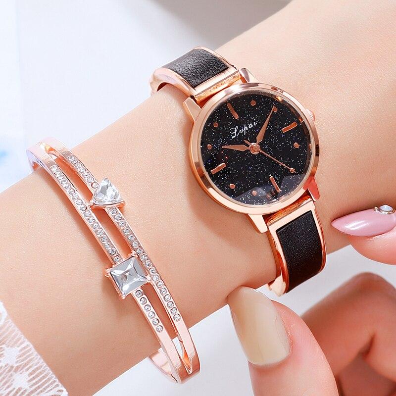Lvpai Brand 2PCS/Set Women Watches Luxury Black Starry Sky Watch For Women Simple Dress Rhinestone Ladies Bracelet Quartz Clock