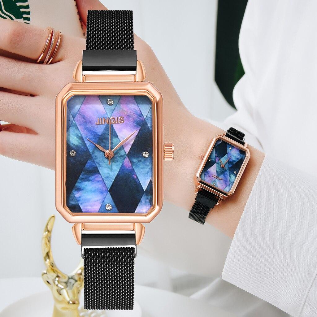 Women Rectangle Dial Bracelet Quartz Watch Luxury Magnetic Clock Ladies Dress Wrist Watch